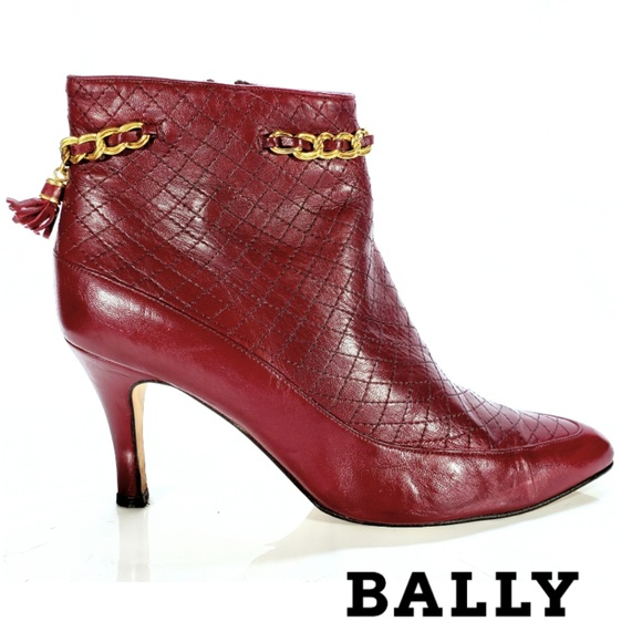 Bally Shoes - Bally Red Italian Leather Ankle Stiletto Boots 8. 960267b653